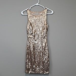 NWT Charlotte Russe gold sequined cocktail dress